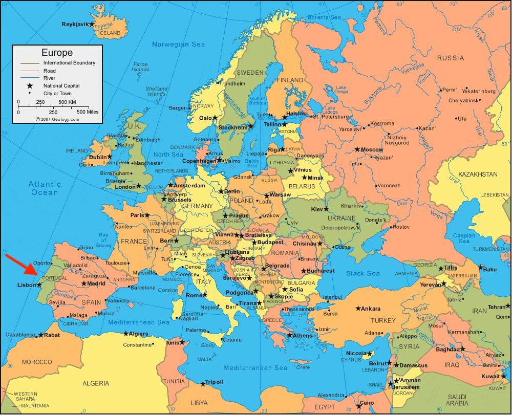 Cartina Della Spagna Geografica.Carta Stradale Spagna Portogallo
