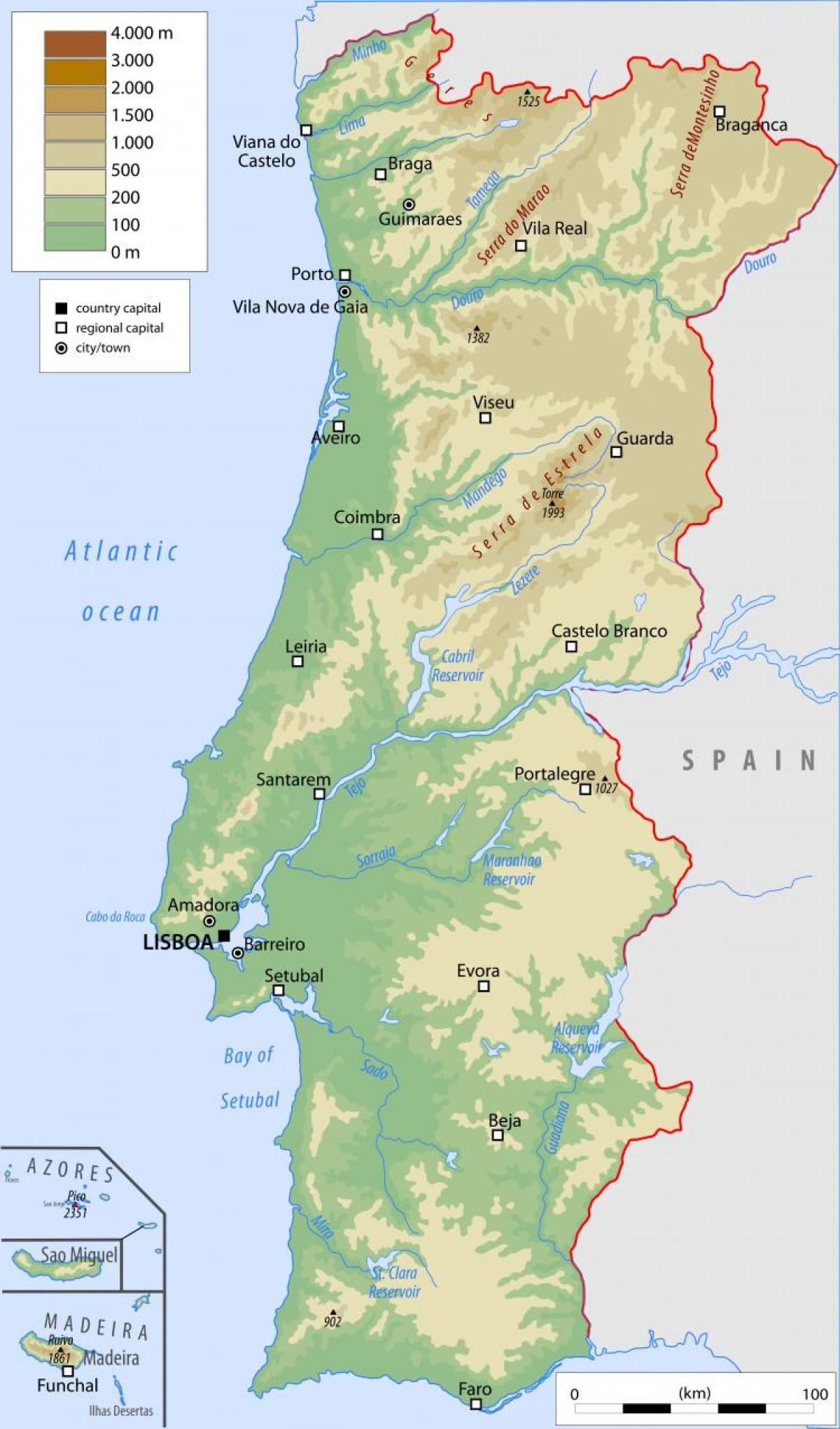 Cartina Fisica E Politica Del Portogallo.Portogallo Mappa Fisica Mappa Fisica Del Portogallo Europa Meridionale Europa