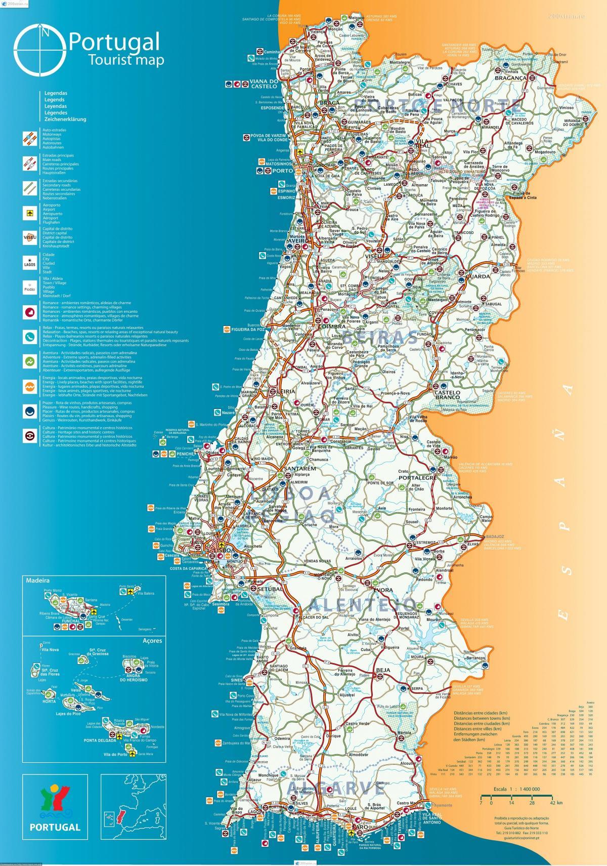 Cartina Di Portogallo.Portogallo Localita Sulla Mappa Cartina Del Portogallo Resorts Europa Del Sud Europa